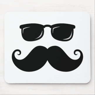 Funny mustache and sunglasses face mouse pad