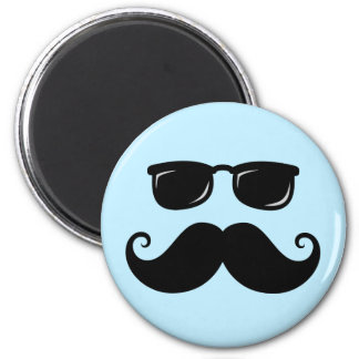 Funny mustache and sunglasses face on blue 2 inch round magnet