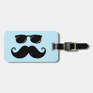 Funny mustache and sunglasses face on blue bag tag