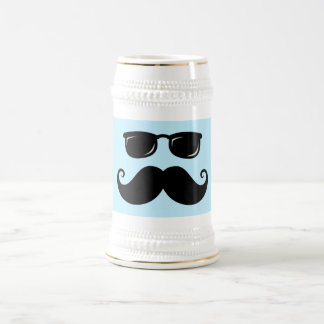 Funny mustache and sunglasses face on blue beer stein