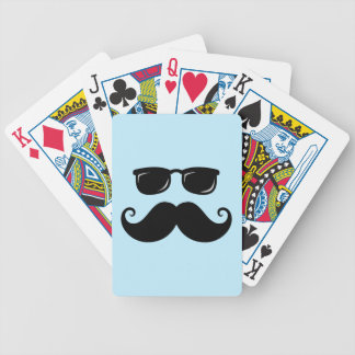 Funny mustache and sunglasses face on blue bicycle playing cards