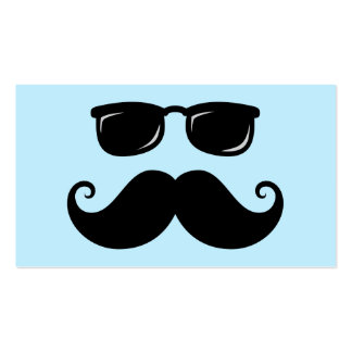 Funny mustache and sunglasses face on blue business card