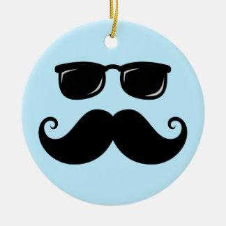Funny mustache and sunglasses face on blue ceramic ornament