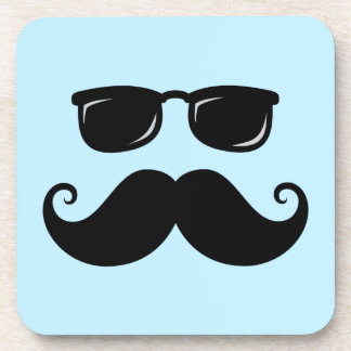 Funny mustache and sunglasses face on blue coaster