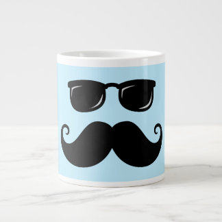 Funny mustache and sunglasses face on blue giant coffee mug