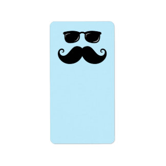 Funny mustache and sunglasses face on blue label