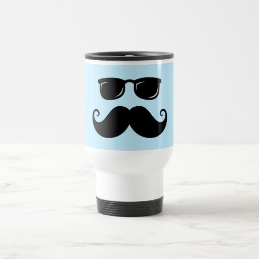 Funny mustache and sunglasses face on blue coffee mugs