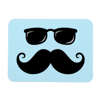 Funny mustache and sunglasses face on blue rectangular photo magnet
