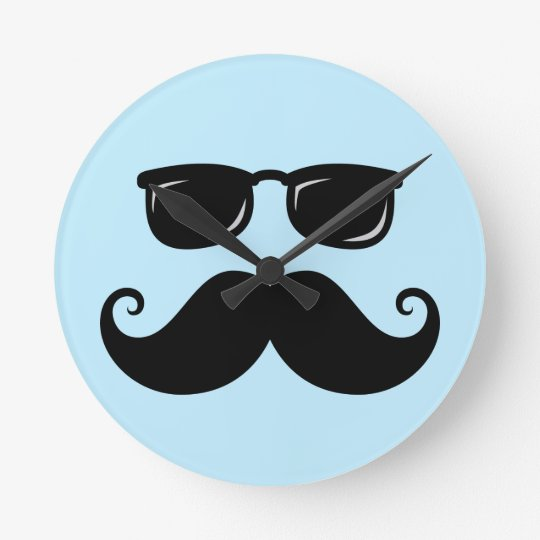 Funny mustache and sunglasses face on blue round clock