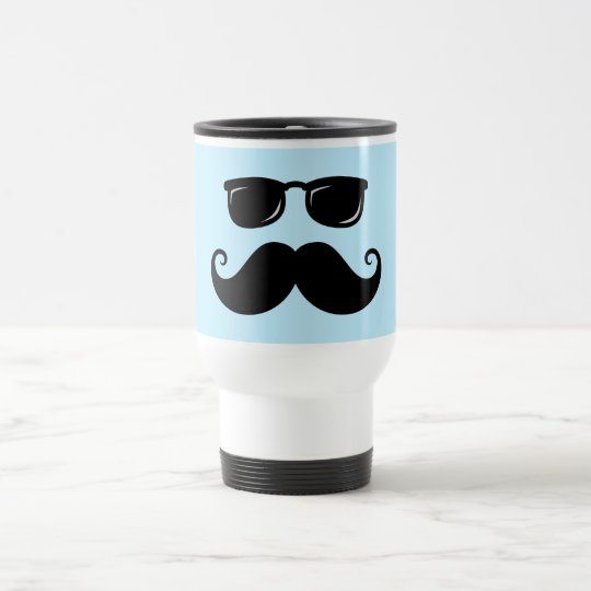 Funny mustache and sunglasses face on blue travel mug