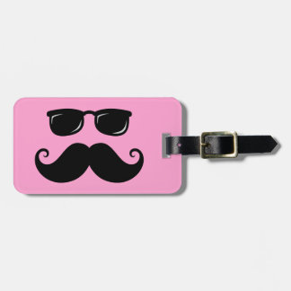 Funny mustache and sunglasses face on pink bag tag