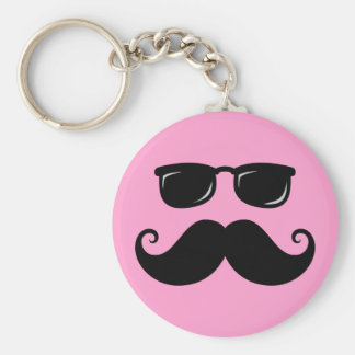 Funny mustache and sunglasses face on pink basic round button keychain