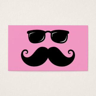 Funny mustache and sunglasses face on pink business card