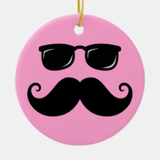 Funny mustache and sunglasses face on pink ceramic ornament