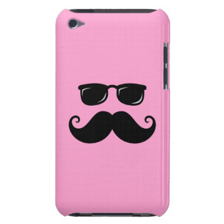 Funny mustache and sunglasses face on pink iPod touch Case-Mate case