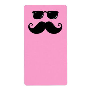 Funny mustache and sunglasses face on pink custom shipping label