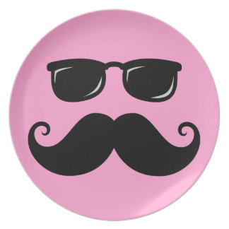 Funny mustache and sunglasses face on pink melamine plate