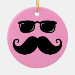 Funny mustache and sunglasses face on pink christmas tree ornament