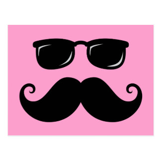 Funny mustache and sunglasses face on pink postcard