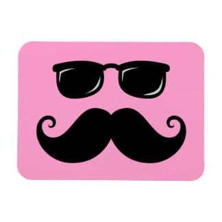 Funny mustache and sunglasses face on pink rectangular photo magnet
