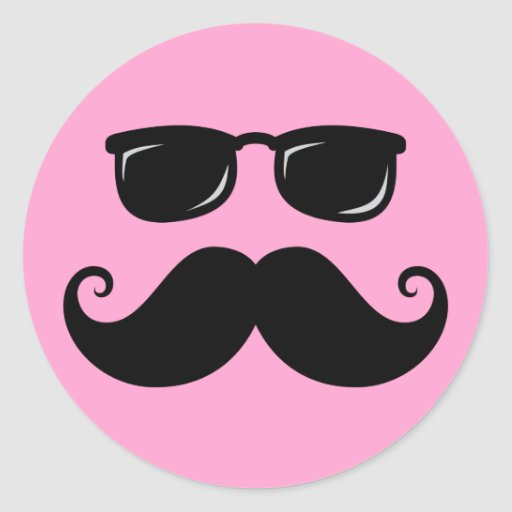 Funny mustache and sunglasses face on pink sticker