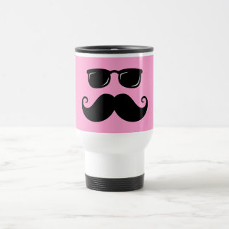 Funny mustache and sunglasses face on pink travel mug
