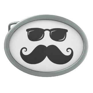 Funny mustache and sunglasses face oval belt buckles