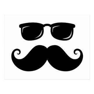 Funny mustache and sunglasses face postcard