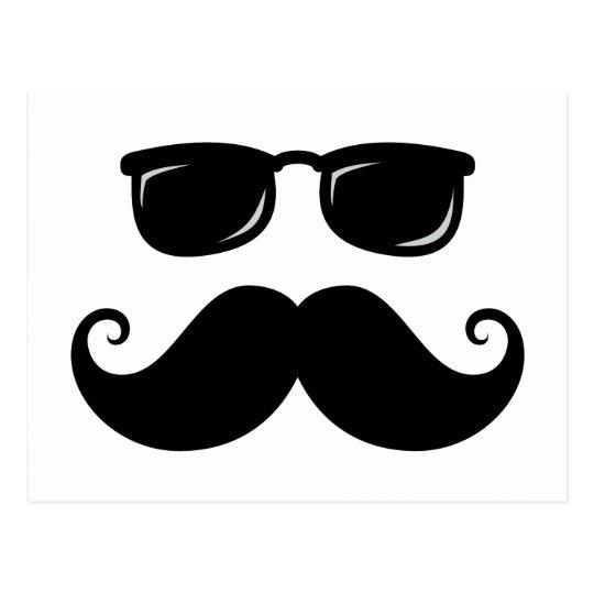 Funny Mustache And Sunglasses Face Postcard Zazzle Com