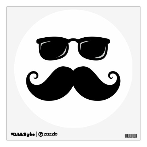 Funny mustache and sunglasses face room decals