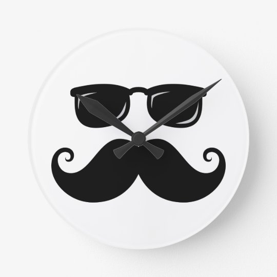 Funny mustache and sunglasses face round clock