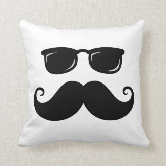 Funny mustache and sunglasses face throw pillow