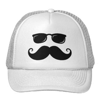 Funny mustache and sunglasses face trucker hat