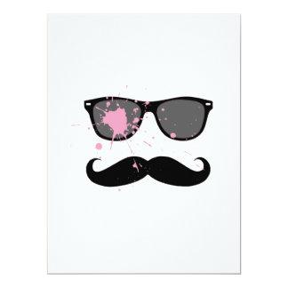Funny Mustache and Sunglasses Custom Invitations