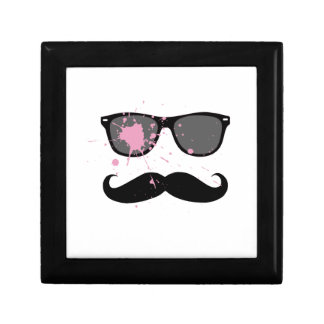 Funny Mustache and Sunglasses Keepsake Box