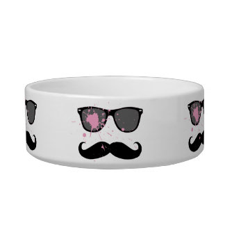 Funny Mustache and Sunglasses Cat Bowls