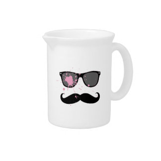 Funny Mustache and Sunglasses Drink Pitcher