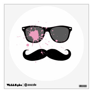 Funny Mustache and Sunglasses Wall Decal