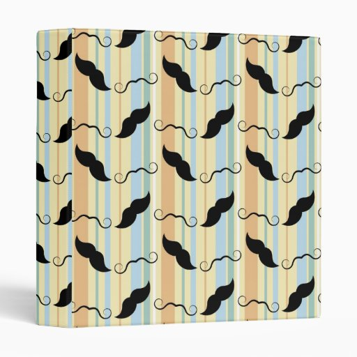 Funny Mustache Background 3 Ring Binder