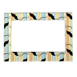 Funny Mustache Background Magnetic Frame