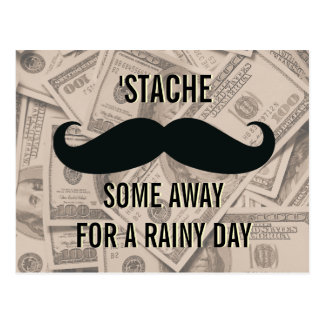 Funny Mustache Be Thrifty Retro Postcards