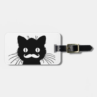 FUNNY MUSTACHE, BLACK CAT TAG FOR LUGGAGE