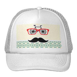 Funny Mustache; Blue-Green & Cream Trucker Hat