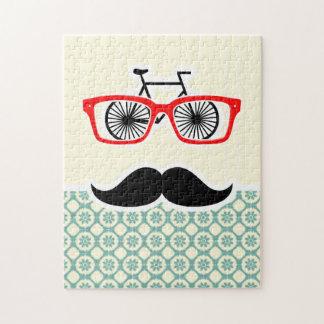 Funny Mustache; Blue-Green & Cream Puzzles