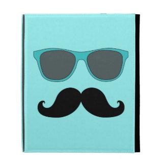 FUNNY MUSTACHE BLUE SUNGLASSES iPad CASE