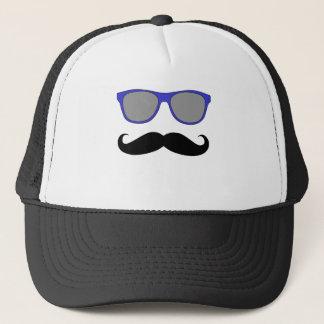Funny Mustache,  Blue Sunglasses Humor Trucker Hat