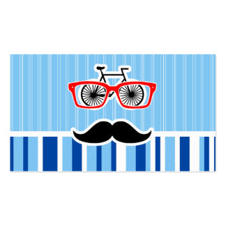 Funny Mustache; Blue & White Stripes Business Cards