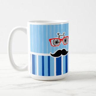 Funny Mustache; Blue & White Stripes Coffee Mugs