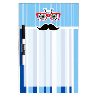 Funny Mustache; Blue & White Stripes Dry-Erase Whiteboards