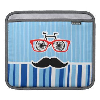 Funny Mustache; Blue & White Stripes iPad Sleeve